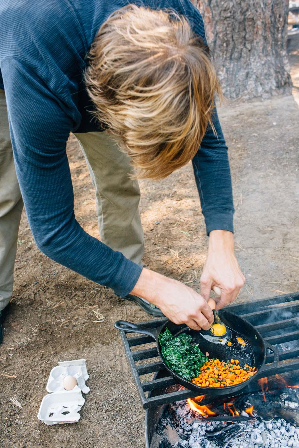 Sweet potato, pepper, and kale breakfast skillet