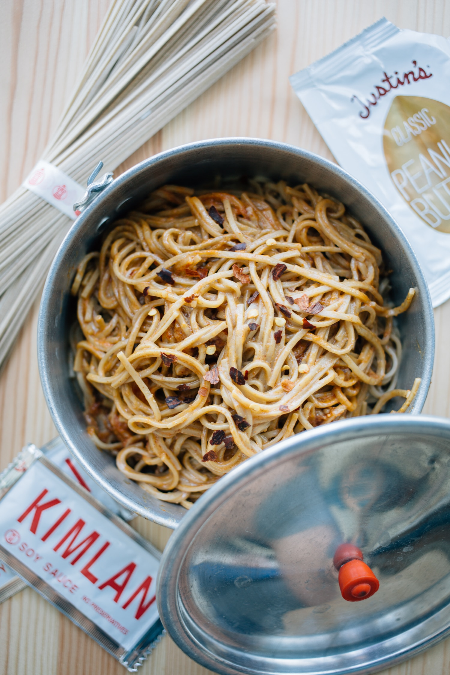 vegan dan dan noodles in a camping pot