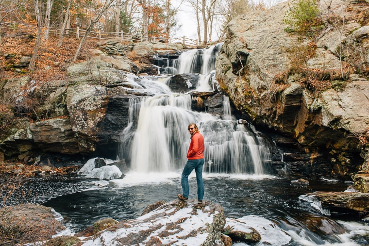 The waterfall at Devil's Hopyard State Park