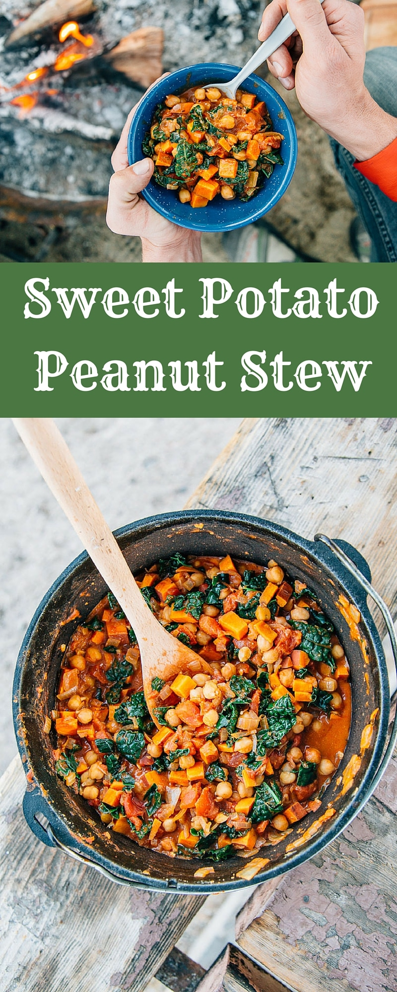 Hearty, healthy, and satisfying - this #vegan Sweet Potato and Peanut Stew is a perfect meal to make over the campfire.