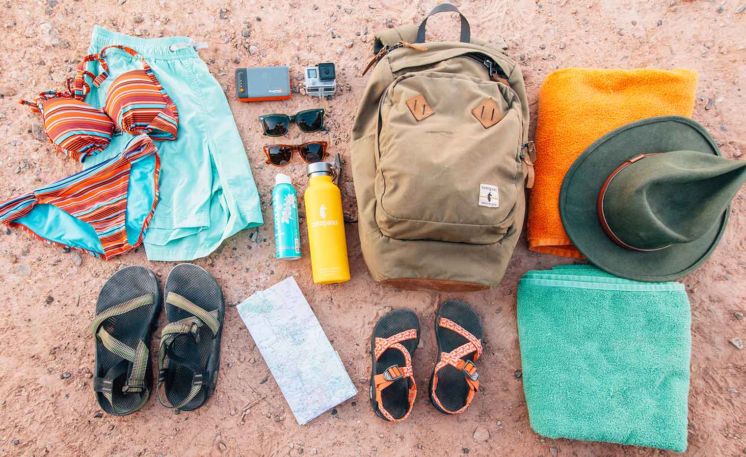 What to pack on a hike to a swimming hole.