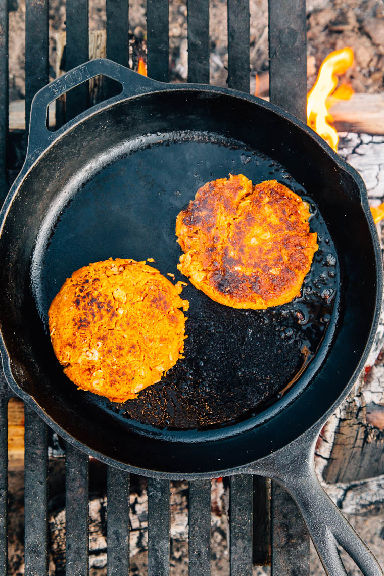 Southwestern Sweet Potato Bean Burger: The perfect veggie burger for your next camping trip!