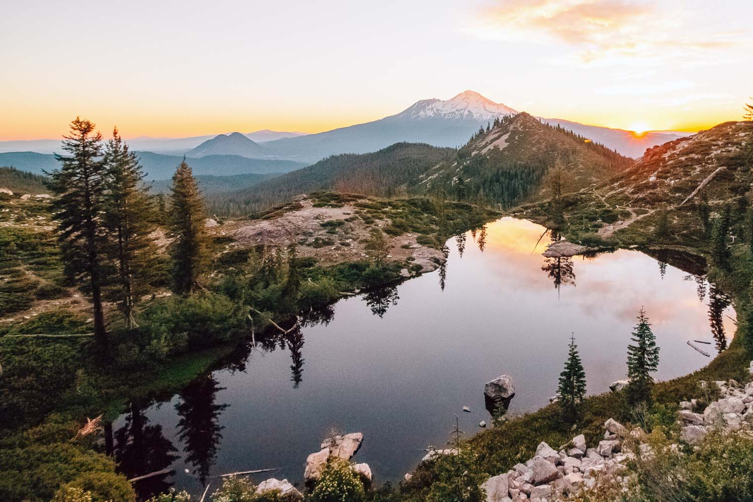 A short and sweet backpacking trip to a heart shaped alpine lake with an epic view of Mt. Shasta