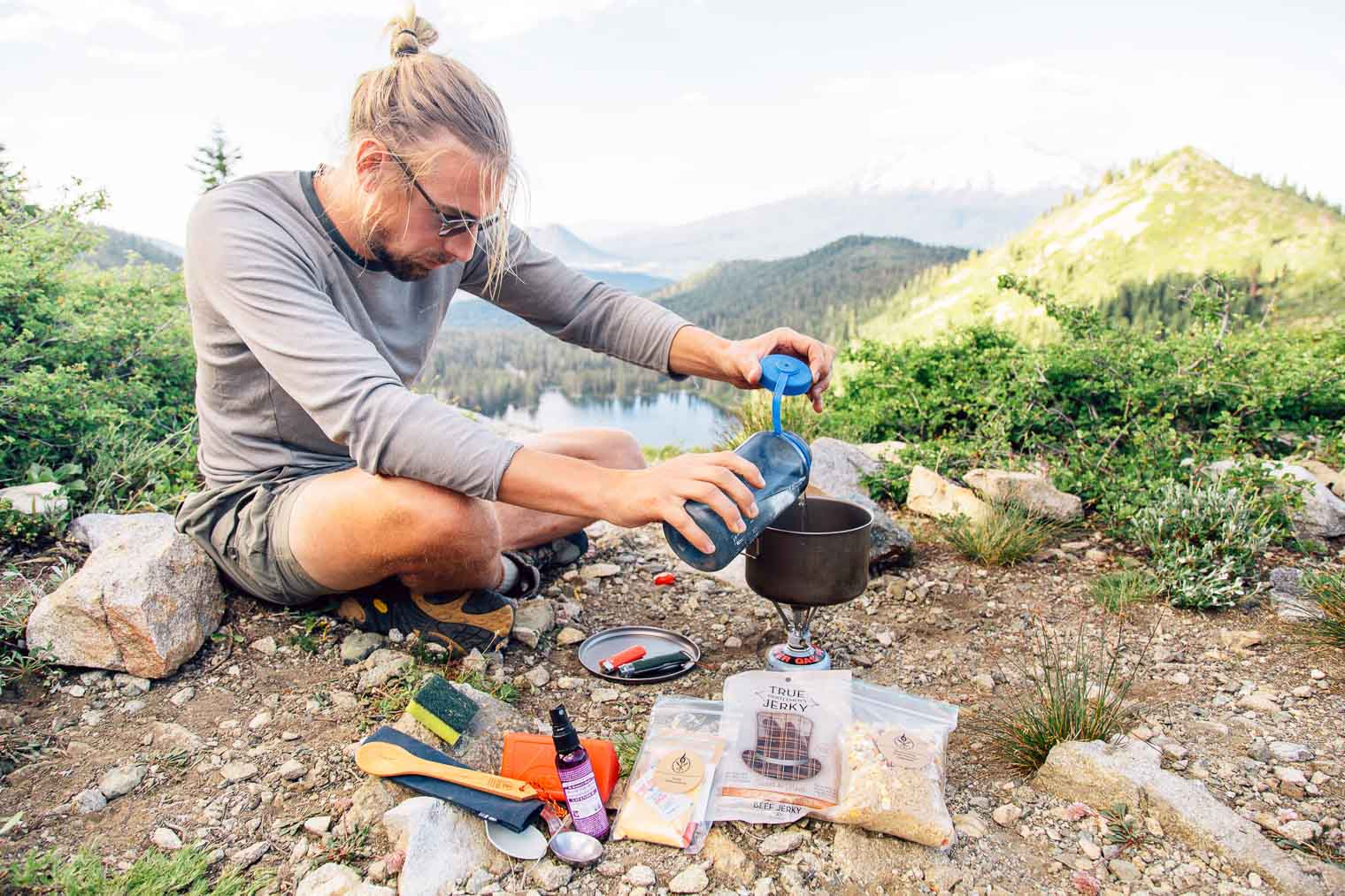 An easy backpacking meal idea: Fried Rice with Jerky. With just a few ingredients (and no dehydrator!) you can make this backpacking dinner ahead of time and enjoy a homemade meal on the trail.