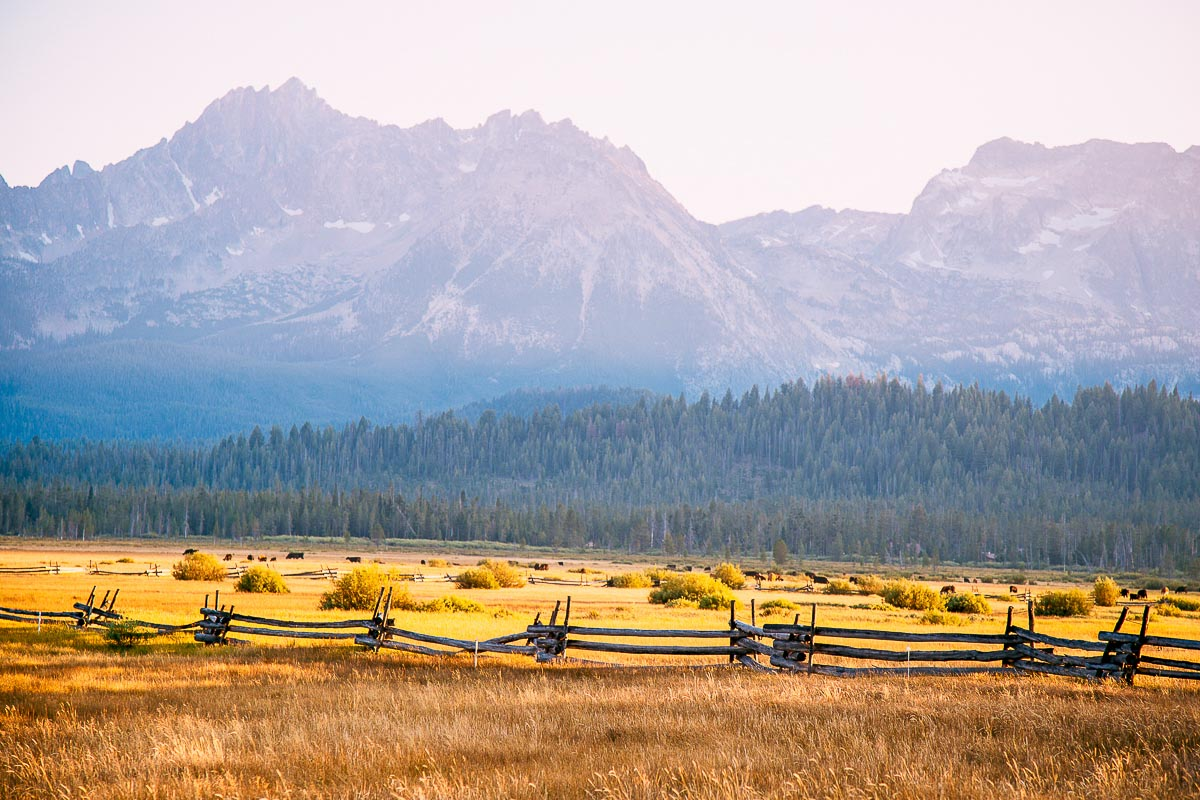 The Sawtooth Mountains at sunset in Stanley Idaho