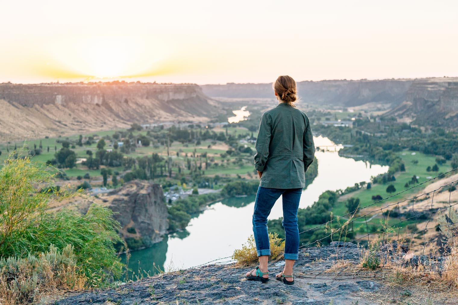 Sunset over the Snake River in Twin Falls, Idaho