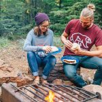 """Grilled sweet potato """"steaks"""", roasted peppers and onions, and a New Mexican chile marinade, these vegan campfire fajitas are new take on on an old classic."""