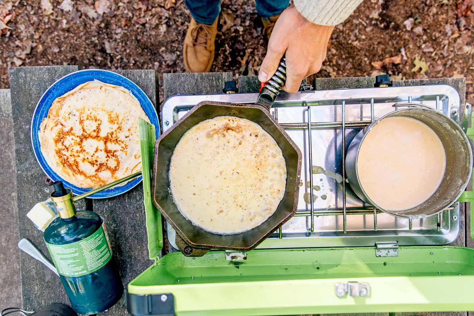 Ponnukokur are thin, crepe-like Icelandic pancakes. We made ours stuffed with fruit and skyr for a high protein breakfast while camping.
