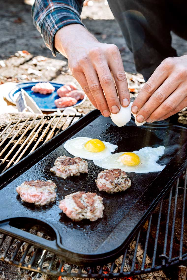 Here is a great camping breakfast idea: Egg Sausage and Cheese Sandwiches!