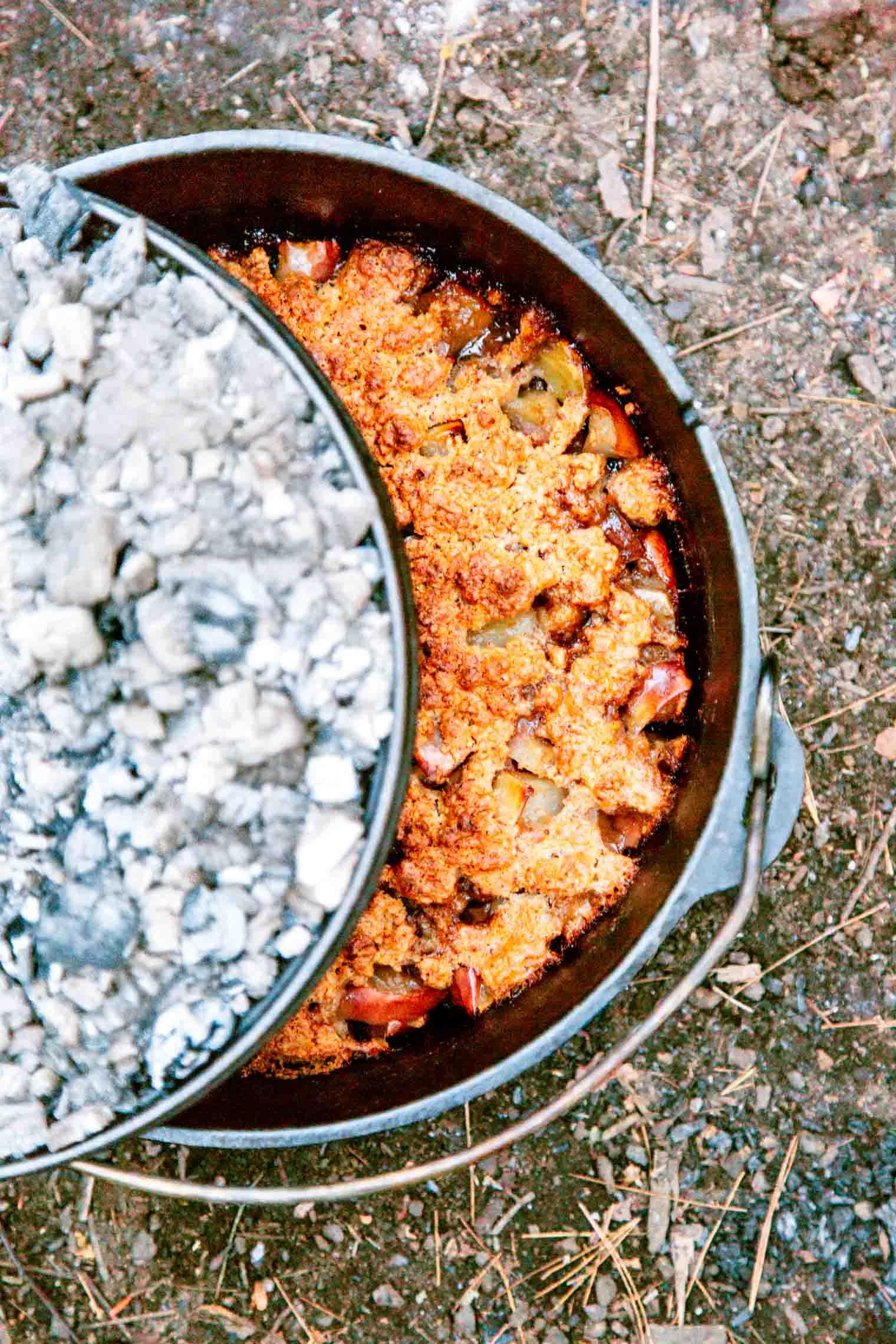 Dutch oven apple cobbler