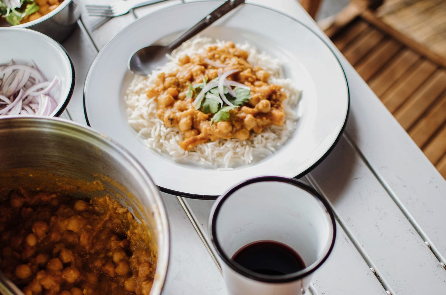 An easy vegan chana masala made with sweet potatoes, tomatoes and chiles.