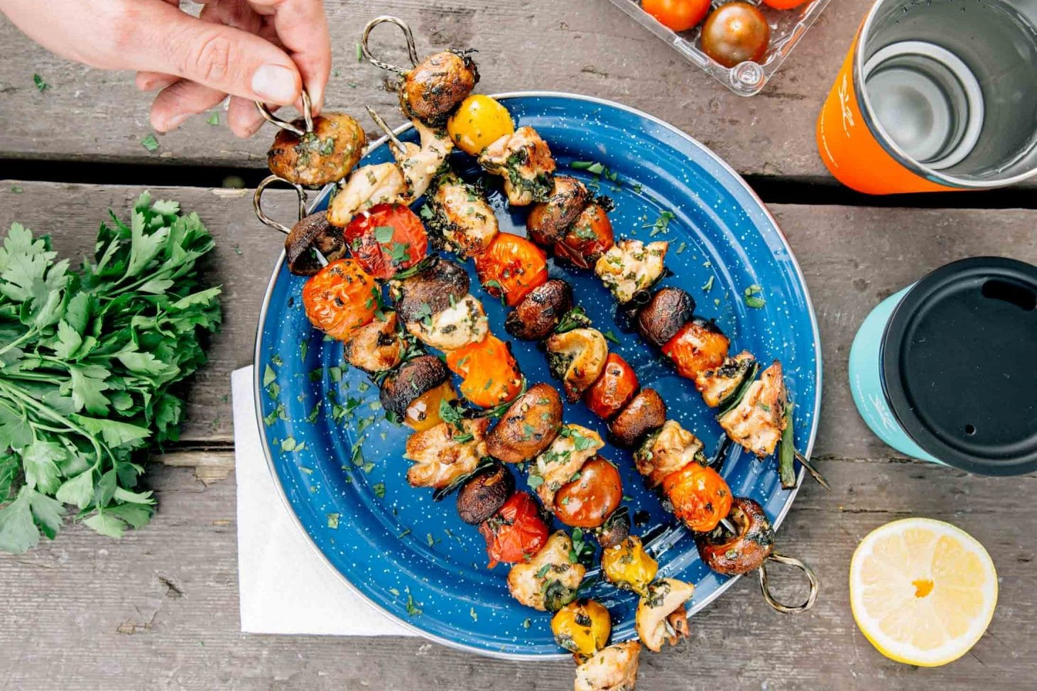 These Grilled Veggie Chicken Skewers Are A Great Make Ahead Camping Meal