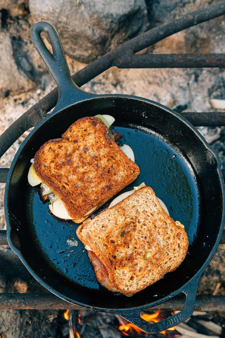 Grilled Cheese Sandwich cooking on a campfire