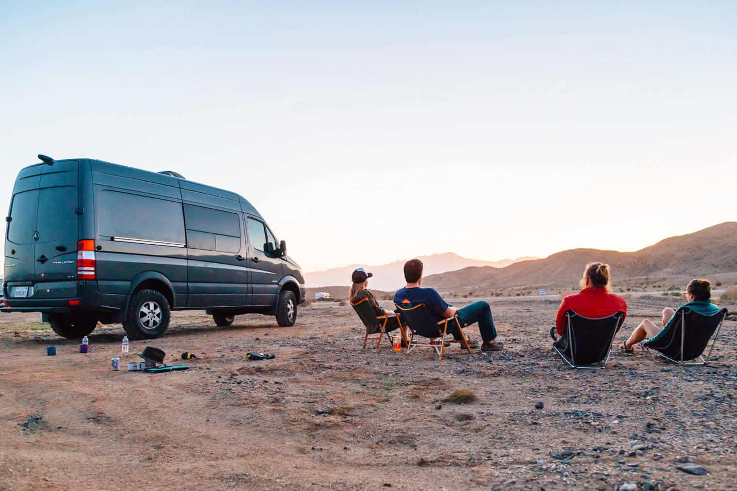 Friends sitting around a campfire in Borrego Springs.