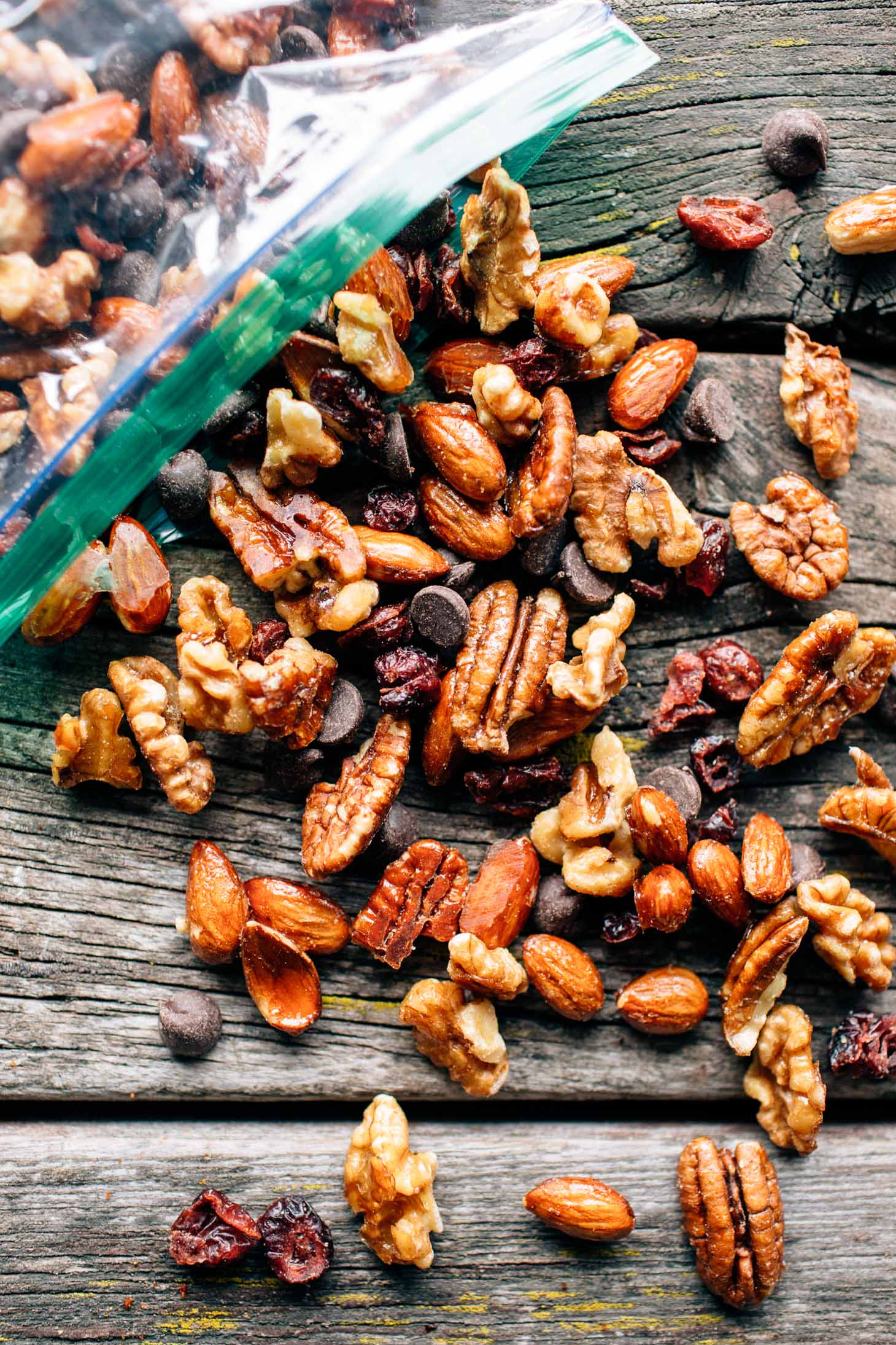 Maple trail mix on a wooden surface