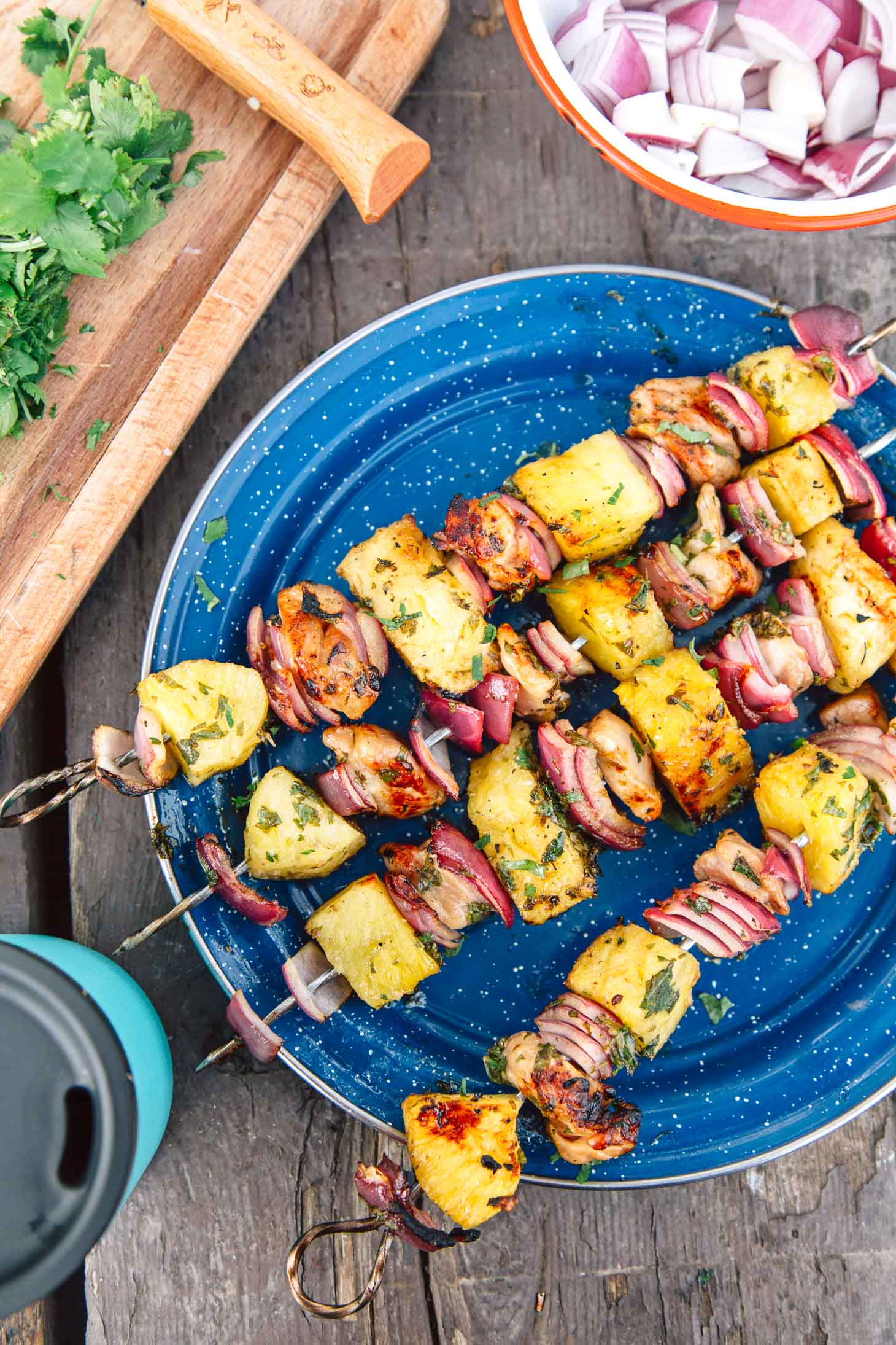 Grilled chicken pineapple kabobs on a blue camping plate