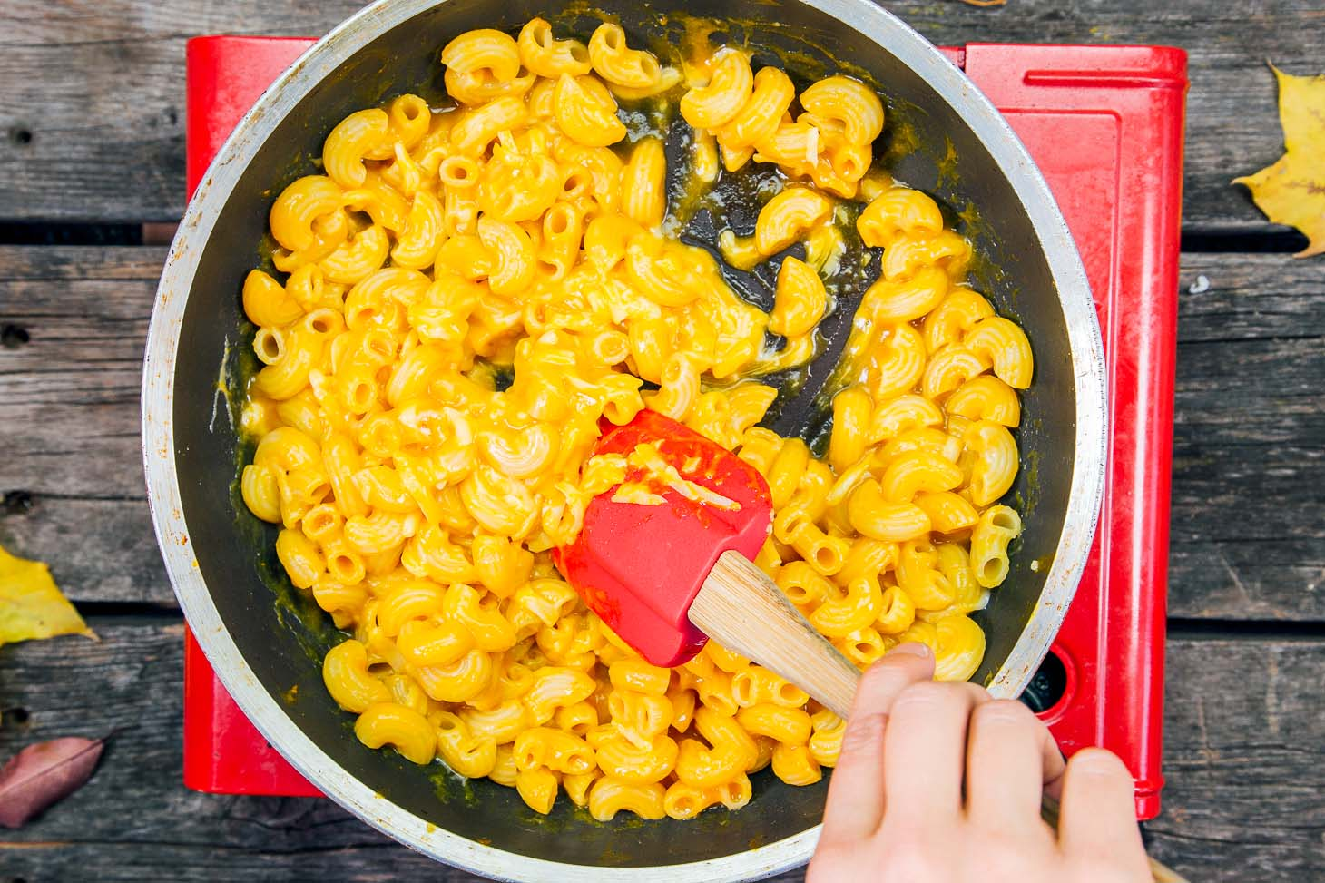 Pumpkin mac and cheese in a skillet