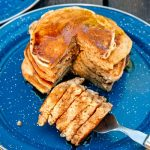 Pumpkin Spice Pancakes stacked on a plate